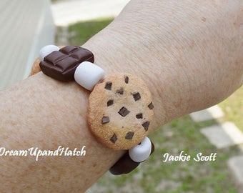 Chocolate Chip Cookie Bracelet, Handmade, Free Shipping