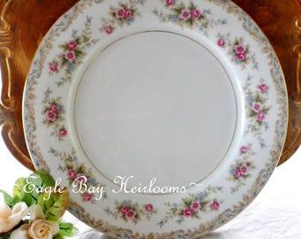 """Dinner Plate NORITAKE Japan Fine China """"Somerset"""" Pattern #5317 Pink Roses 10.5"""" Wide"""