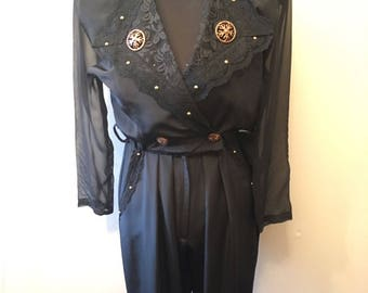 1980's black and gold  jumpsuit size 10