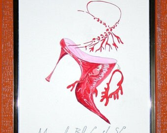 Painting on Canvas Manolo Blahnik Shoes
