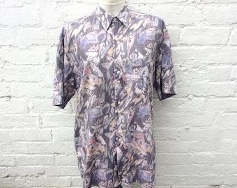 90's patterned shirt, vintage print, menswear
