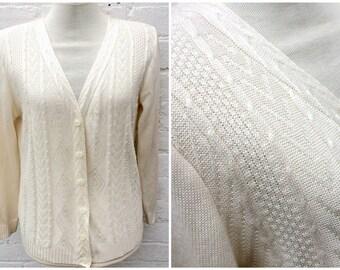 Cream cardigan, vintage knit cardi, women's fashion