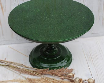 "12"" inches Wooden green cake stand,green wedding stand,green cake pedestal,green cupcake stand,,green country cake stand,rustic cake stand"