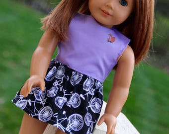 Red Fox Crop Top and Bicycle Skirt for 18 inch dolls