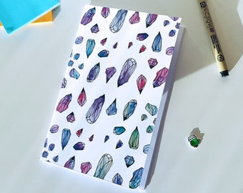 Crystals Notebook, Sketchbook, Journal, Illustration, Crystals Illustration, Blank Notebook