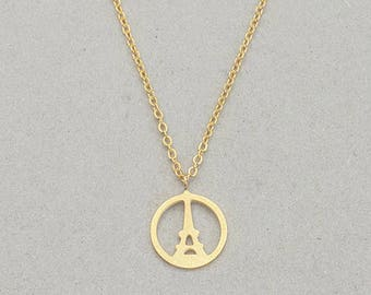 Necklace gold plated Paris eiffel tower france minimalist elegant woman
