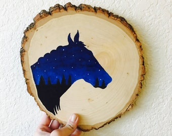 Horse Wood Slab Painting