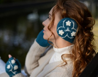 Turquoise Mittens & Earmuffs Set * Hand Knitted Fingerless Gloves * Womens Ear muffs * Etno Style * 180 degrees Ear Warmers * READY TO SHIP