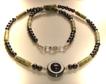 Hematite necklace with Unakite, 42mm unique