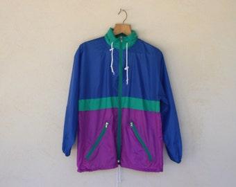 Retro Multi Colour Festival Hooded Jacket - Size Small