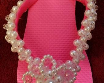 Flower pearl summer sandals