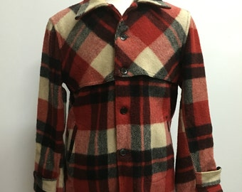Vintage 1950s 100% Virgin Wool Plaid Men's Jacket by Montgomery Ward