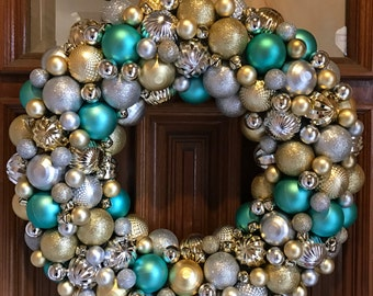 Silver, Gold, and Teal Blue Christmas Ornament Wreath! The most detailed ornament wreaths you will ever see! Bauble wreath