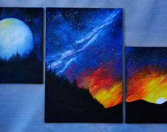 Original Oil Fantasy Space Landscape Painting Set of 3 LARGE Wall decor Office decor Moon Galaxy Sunset *Space Fantasy*
