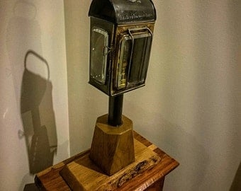 Retro Industrial edison Style Table Lamp- steampunk lantern solid oak base