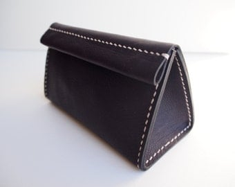 SALE 50% OFF --- Leather Cosmetic Bag, Leather Make Up Bag, Leather Pouch - Dark Brown