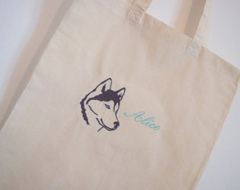 "Tote Bag ""snow dog"""