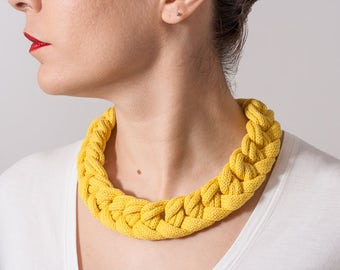 Textile necklace - statement necklace - braided necklace - yellow - cotton - sterling silver