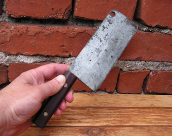 Vintage Cleaver Knife Small Kitchen Meat Chopper Primitive Farmhouse Forged Steel meat cleaver Old butcher knife Kitchen decor