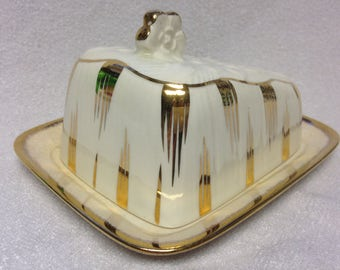 Vintage Sandland ware ~Golden Glory~ Butter or Cheese Dish