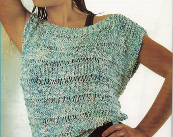 1980's vintage knitting pattern, women's ladies cotton knit top, summer top, easy knit,retro fashion, instant download, PDF