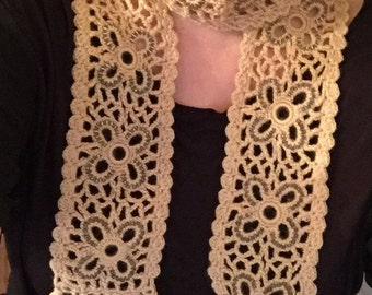 Sale , Lacey scarf , hand knit scarf, knit scarf , beaded scarf , crochet scarf , bohem scarf , bohemian scarf ,