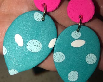 Stud dangles Polymer clay funky hanging tear drop white awua neon pink love fashionable