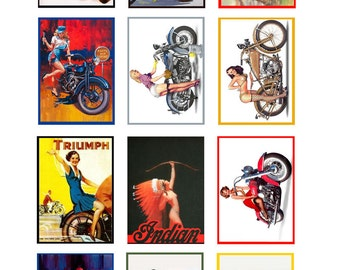 scale model vintage motorcycle pin up posters