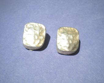 Sterling Silver Clip On Earrings Textured
