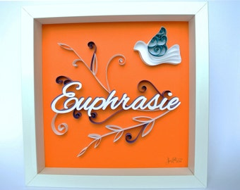 Picture perfect Dove theme personalized baptism gift. Olivier, turquoise, violet, name, relief. Deco kid's room. paper cut