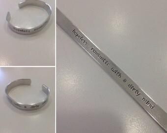 Hand Stamped Hopeless Romantic Bracelet