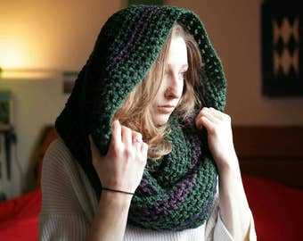 Green Infinity Scarf With Purple Accents, Cozy Wrap,