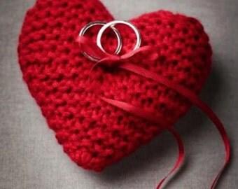 Hand knit heart ring bearer pillow