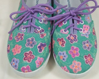 Floral hand painted Broderie Anglais lace-up pumps, UK size 5