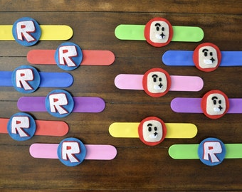 ROBLOX PARTY FAVOR - Set of 4 Roblox inspired slap bracelets, Roblox birthday, Roblox party, Roblox favors