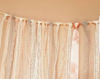 Lace garland, lace and ribbon garland, lace ribbon pearl garland