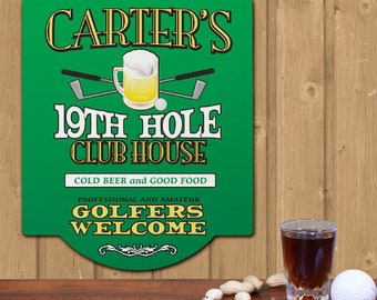 Personalized 19th Hole Golf Sign Custom Name Gift