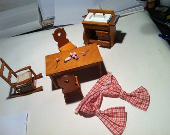 Vintage Doll House accessories furniture chairs table Dresser rocking chair curtain