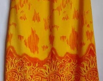 Women's Skirt/Summer Skirt/ Maxi Skirt/Yellow Orange Skirt/Bright Color Skirt/Abstract Print/A Line Skirt/Elastic Waist/Lining/ Size M