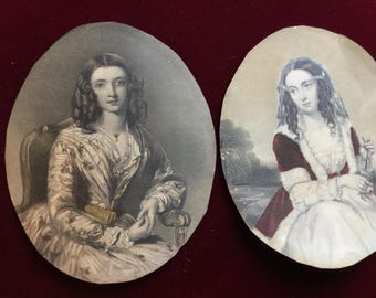 Pair of Victorian colored steel engravings of young ladies