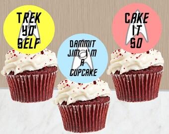 Star Trek Cupcake Toppers - Instant Download - Star Trek Cupcakes - Star Trek Party - Digital Download - Dammit Jim - Trek Yo Self