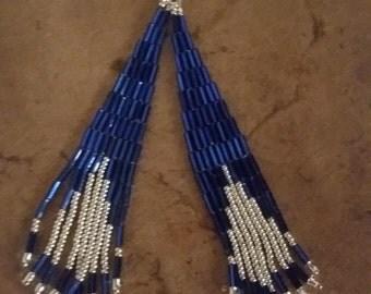 Blue Shimmering Bugle Beaded Sweeper Earrings