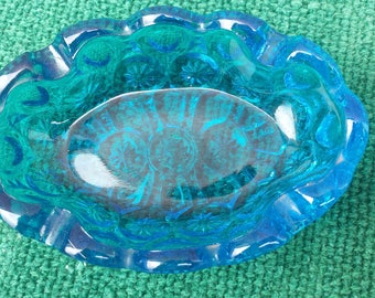 blue Moon and Stars patterned glass ashtray