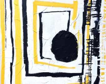 Abstract painting ORIGINAL Art Modern landscape Painting Black white Yellow Grey Textured Palette knife art Ready to hang artwork