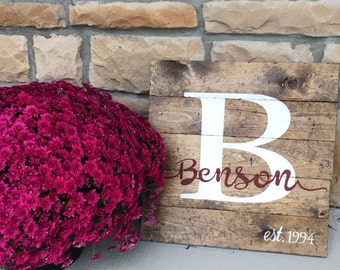 "Monogram Wood Sign, Custom 17.5"" x 17.5"" Wood Sign, Pallet Wood Last Name Picture, Custom Wood Sign, Family Name Wood Sign, Rustic Wood Sign"