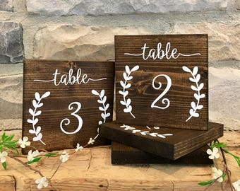Set of 20 Wedding Table Number Signs, Reception Table Number Signs, Wedding Signs, Rustic Table Numbers
