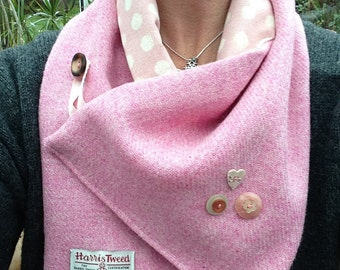 Handmade Pink Harris Tweed Scarf with Vintage Button Detail