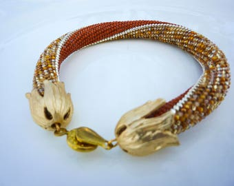 Bead Crochet Bracelet Gold and Brown