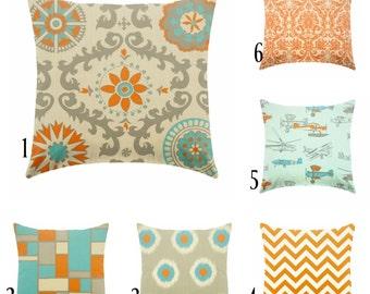 orange pillow - blue pillow - linen pillow - orange and blue-pillow cover only - cushion cover -ZIPPER CLOSURE