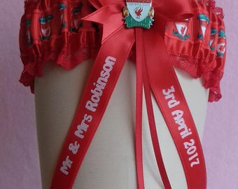 Liverpool Personalised Wedding Garter with Lucky Sixpence